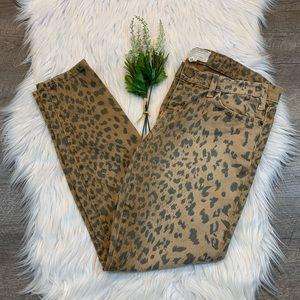 Current Elliot Stiletto Skinny Jeans Camel Leopard